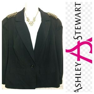 Ashley Stewart Moto Black Blazer Studs 14W NWT
